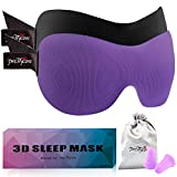 PrettyCare 3D Sleep Mask (Popular Ultra Violet Color with 2 Pack) Eye Mask for Sleeping - Contoured Eyemask for Airplane with Ear Plugs,Silk Travel Pouch - Best Night Blindfold for Men Women