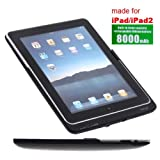 8000mAh Black Rechargeable Life Backup Battery Pack Cover for iPad2 iPad3