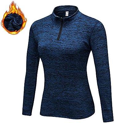 Zip Pullover para Mujeres Running Entrenamiento de la Yoga, de Manga Larga Camisa Corriente Caliente, además de Terciopelo de Invierno con 5Colors Choice, S-XXL,Azul,L: Amazon.es: Hogar