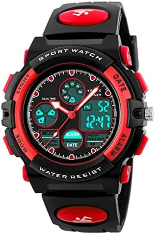 Kids Sport Outdoor Digital Analog Quartz Dual Time Zone Waterproof Rubber Band Watch for Boys Girls Children Red