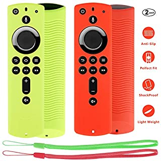 [2 Pack] Firestick Remote Cover Compatible with Fire TV Stick 4K Alexa Voice Remote Control, Lightweight Anti-Slip Shockproof Firetv Remote Protective Case Cover (Green and Red)
