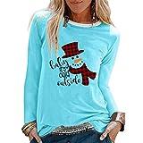 Acilnxm Womens Christmas Printed Blouses Long Sleeve Loose Round Neck Tops T-Shirts Blue