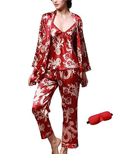 (IDORIC Women/Men Pajama Sets 3pcs Silk Sleepwear Sets Cami Nightwear PJS Set with Matching Eye Mask Gift)