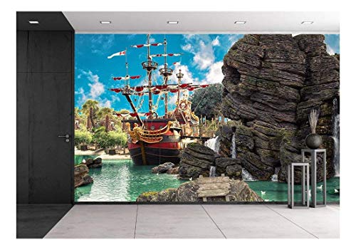 wall26 - Pirate Ship in The Backwater of Tropical Pirate Island, with Big Rock in Form of Skull Near It - Removable Wall Mural | Self-Adhesive Large Wallpaper - 100x144 inches