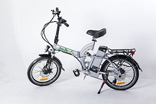GreenBike USA Electric Motor Power Bicycle Lithium Battery Bike - FULL SUSPENSION (Silver)