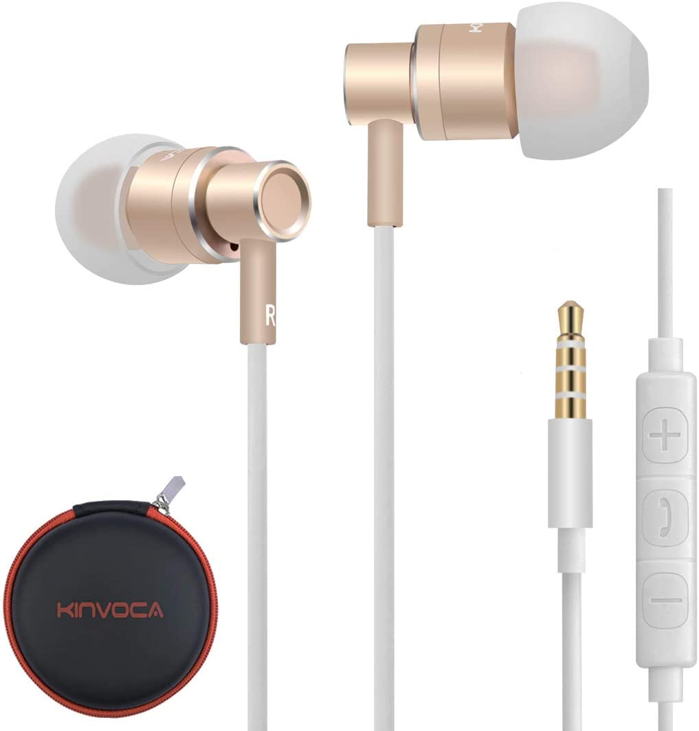 KINVOCA Wired Metal in Ear Earbuds Headphones with Microphone Remote Volume and Case,Bass Stereo Noise Isolating Inear Earphones Ear Buds for Cell Phones MP3 Players,Aluminum Alloy,3.5mm Jack,Gold