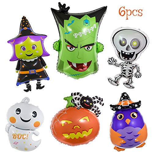 Halloween Decorations Balloons (OMG Party Factory - Halloween Balloons - Giant 6pcs Mylar Foil Balloon Set Including Pumpkin Witch Skeleton Ghost Monster | Halloween Party Decorations &)