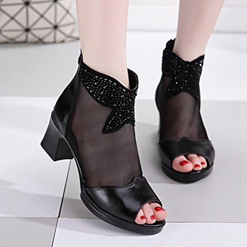 Mujeres Negro los Vestir Botines Sandalias de Casual Zapatos pies Rhinestone Grueso Tacón los de Cremallera de de Malla Dedos de HqwHxArF