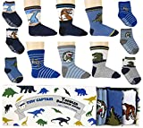 Toddler Boy Socks Baby Boys Dinosaur Sock 1-3 Year Old Non Slip Grip 8-36 Months Gift Set 6 Pack from Tiny Captain (Blue)