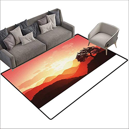 Floor Bath mat Mystic Magical Oriental Sunset View with Tree and Mountains Mystique Hills W79 xL118 Suitable for Bedroom, Living Room, Games Room, Foyer or Dining Room