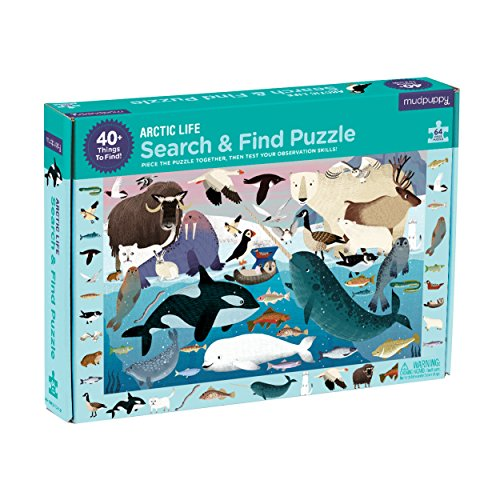 Galison Mudpuppy Arctic Life Search & Find Jigsaw Puzzle, Ages 4-7 - Arctic Animal Drawings, 64Piece, 23 X 15.5 Size