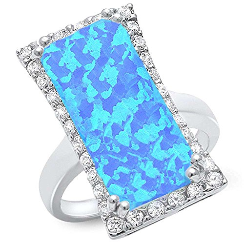 - Cocktail Style Lab Created Blue Opal & Cubic Zirconia .925 Sterling Silver Ring Sizes 8