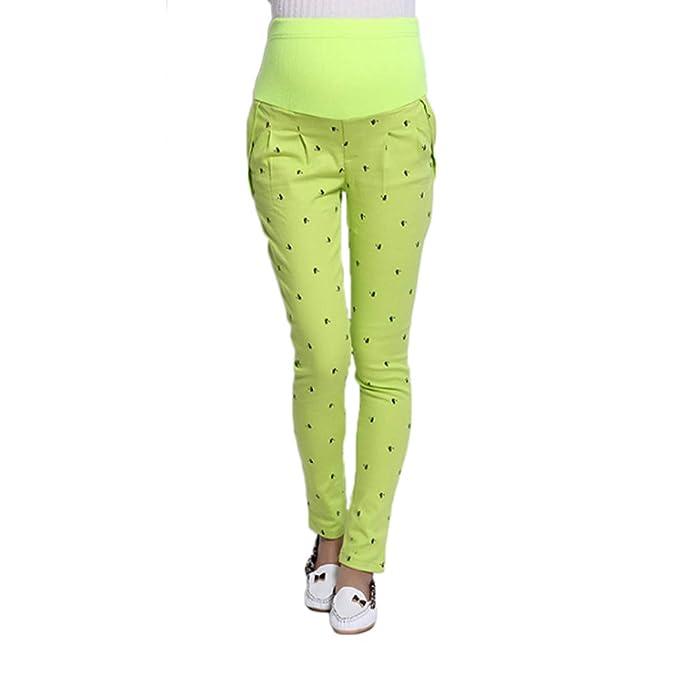 e0d09da17 Huicai Moda Casual para Mujer de impresión de Maternidad Primavera otoño  Tobillo Completo Ocasional Cintura Embarazo Pantalones Bolsillo Ajustable  Leggings  ...