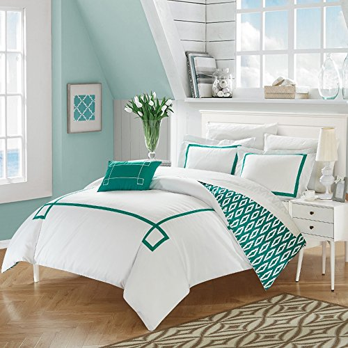 3 Piece Embroidered Greek Key Patterned Duvet Cover Set Twin XL Size, Bright Reverse Geometric Diamonds Bedding, Elegant Modern Coastal Geo Borders Style, Bold Classic Fashionable Design, Aqua, Ivory ()