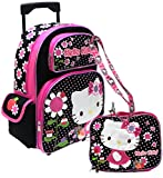 Hello Kitty Rolling backpack Lunch bag and Lanyard set - Ribbon