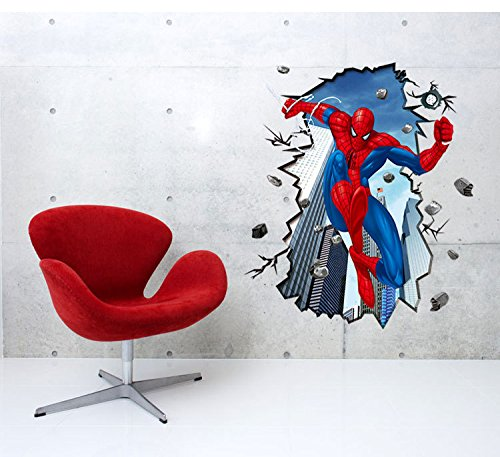 MightyStickers 3D Super Hero Man Spider Removable Wall Art Stickers Decals DIY Room Home Decor