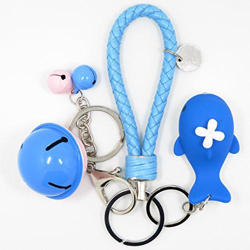 Bat King Cute 3D Cartoon Whale Key Chain Key Ring,Handbags Accessory,Portable Strip with Bell