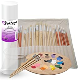 Art Paint Brush Set (24-piece) ● Highest Quality Synthetic and Natural Bristles for Oil and Acrylic ● Includes Free Canvas Storage Holder Case ● Best Variety of Round and Flat Long Handled Brushes ● ***Full One Year Quality Guarantee*** ● Perfec