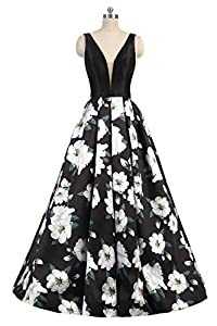 SHANGSHANGXI Floral Print Evening Dresses for Women A Line Long Black Prom Ball Gowns