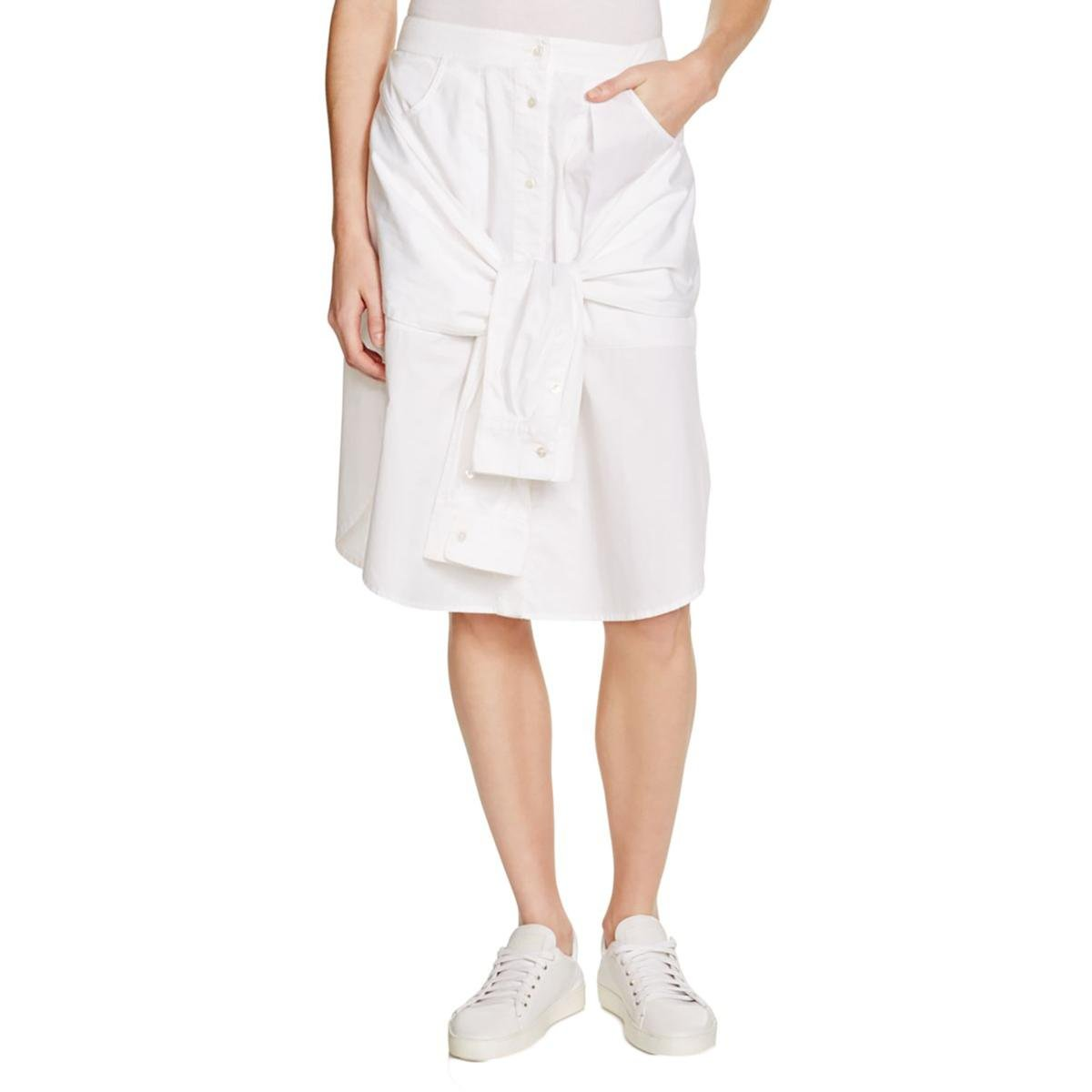 T Alexander Wang Womens Poplin Front Tie A-Line Skirt White 10 by T by Alexander Wang