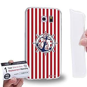 Case88 [Samsung Galaxy S6] Gel TPU Carcasa/Funda & Tarjeta de garantía - Art Nautical Prints Anchors Nautical Symbols 1621