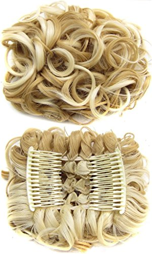 JOYJULY Curly Elastic Net Chignon With Two Plastic Combs Easy Clip To Wavy Hair Clamp Bun Full