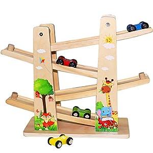 Jouet en Bois pour Bébé/Enfant, Jouet de Voiture – Rampe de Course de la Forêts – Circuit Zig Zag avec Parking 4…