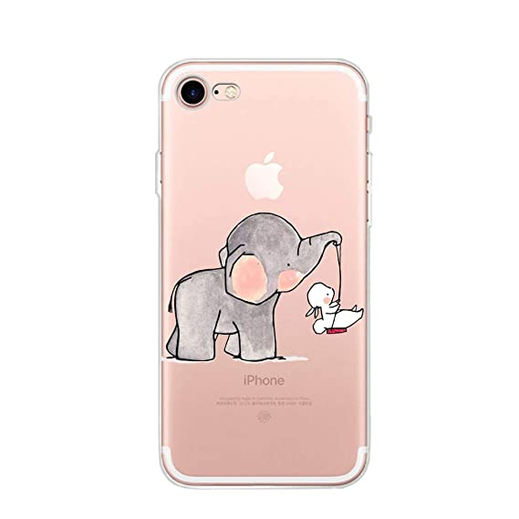 the latest 17d45 57e1e [Upgraded] iPhone 8 Elephant Rabbit Swing Case,iPhone 7 Bunny Elephant Game  Case,Personality Clear Design Printed Pattern Soft Flexible TPU Protective  ...