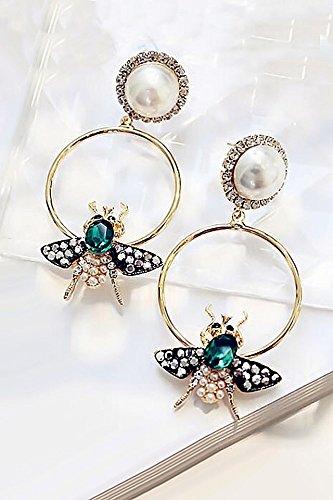 Generic European Van_insect ear Nail _Korea_Pearl ear pendant necklace _metal_knocked_color_ earrings Earring eardrop _925_ silver _ear-ear_Ornaments students (Pearl Bug)