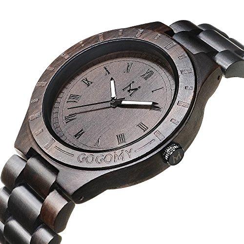 GOGOMY Wood Watch for Men Quartz Watch Vintage Mens Dress Watch Analog Wooden Wrist Watch Dark Brown