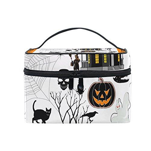 ALIREA Halloween Town Cosmetic Bag Travel Makeup Train Cases Storage Organizer -