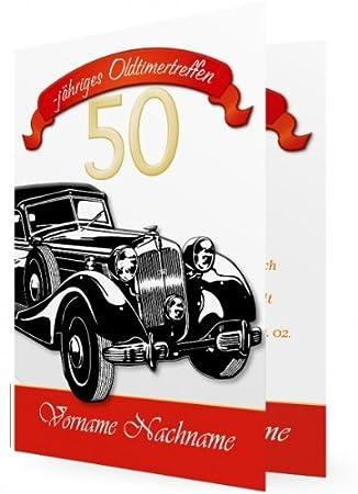 10 X Einladungskarten 50 Geburtstag Oldtimer Klappkarte