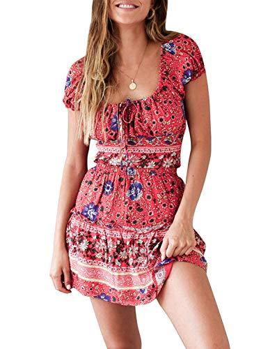 42439590fc Simplee Women's V Neck Short Sleeve Maxi Dress Boho Floral Split Wrap Long  Dress