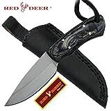 Red Deer Black Pakka Wood Handle 440 Stainless Steel Genuine Leather Sheath For Sale