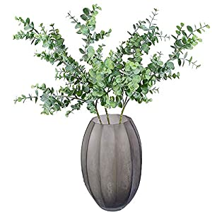 "Aisamco 3 Pcs Artificial Eucalyptus Branches Plants Faux Eucalyptus Leaves Spray Artificial Greenery Floral Stems 35"" Tall in Grey Green for Wedding Party Floral Arrangement 3"