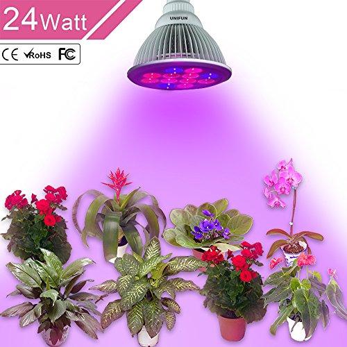 24W LED Grow Light, UNIFUN E27 Plant Bulbs Plant Growing Bulb for Garden Greenhouse  Plants Growing Lamps