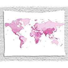 Light Pink Tapestry by Ambesonne, Cute World Map Continents Island Land Pacific Atlas Europe America Africa, Wall Hanging for Bedroom Living Room Dorm, 80 W X 60 L Inches, White Light Pink