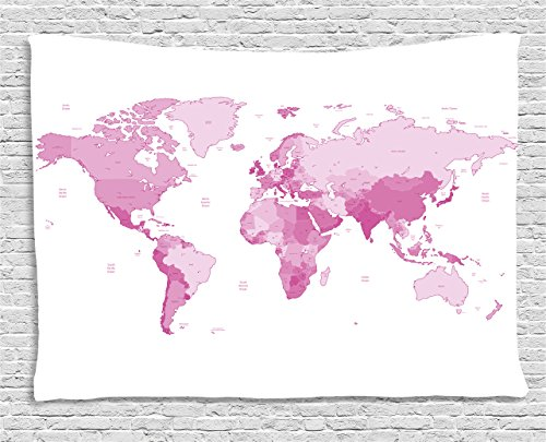 Ambesonne Pale Pink Tapestry, World Map Continents Island Land Pacific Atlas Europe America Africa, Wide Wall Hanging for Bedroom Living Room Dorm, 60