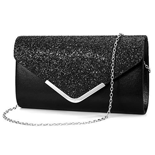 ZIUMUDY Women's Sparkle Evening Bags Envelope Clutches Shoulder Chain Handbag Bridal Wedding Purse (Black) ()