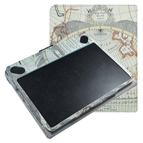 Mama Mouth Slim-Book Folio Carry PU Leather Cover for Wacom Intuos Medium Art CTH690AK CTH690AB / 3D CTH690TK / Comic CTH-690/K1 CTH-690/B1 Digital Drawing Tablet,Map White