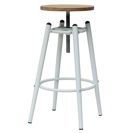 Fusion Living Sgabello da Bar bianco industriale vite Top con seduta ...