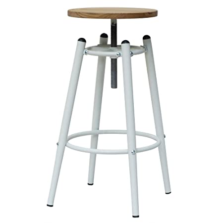 Fusion Living White Industrial Screw Top Bar Stool With Solid Wood Seat
