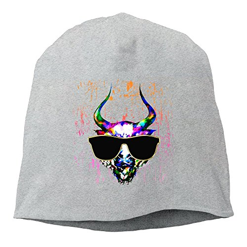 Cow With Sunglasses Watercolor Skull Unisex,Women/Men Wool Hat Soft Stretch Beanies Skull Cap Christmas,Halloween Gift - Sunglasses Cow