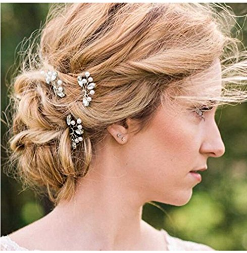 Jovono Women's Hair Pins with Crystal And Beads for Bridal W