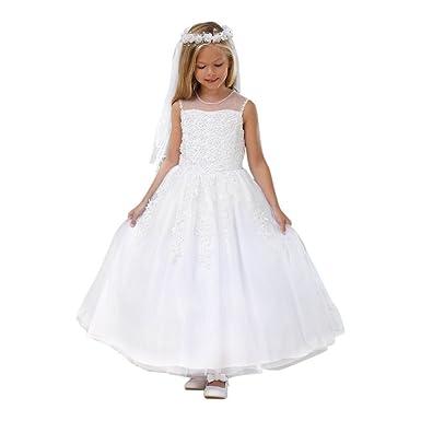 12935980c7c Amazon.com  Angels Garment Little Girls White Lace Applique Flower ...