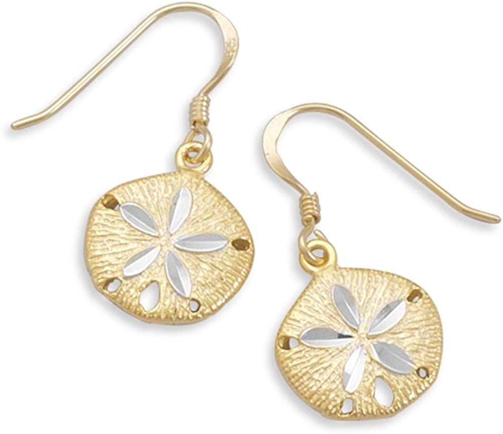 Sand Dollar Two Tone Gold-plated Sterling Silver Earrings