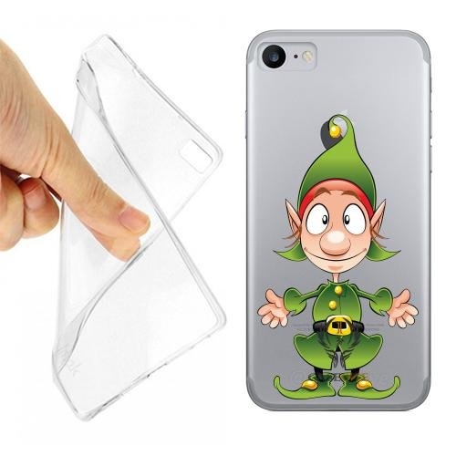 Caseone linea top CUSTODIA COVER CASE FOLLETTO NATALE PER IPHONE 7 TRASPARENTE