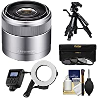 Sony Alpha E-Mount E 30mm f/3.5 Macro Lens with Ringlight + 3 Filters + Tripod Kit for A7, A7R, A7S Mark II, A5100, A6000, A6300 Cameras