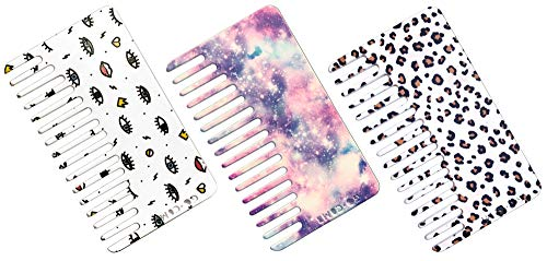 Go-Comb - Wallet Sized Hair & Travel Comb - Wide Tooth - Pattern Plastic 3-Pack