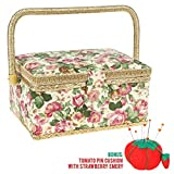 Large Sewing Basket with Accessories Sewing Storage and Organizer with Complete Sewing Kit Tools, Wooden Sewing Box with Removable Tray and Tomato Pin Cushion for Adults and Kids, Beige